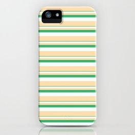 Sea Green, Mint Cream & Tan Colored Lines/Stripes Pattern iPhone Case