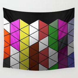 Foil Triangles - Colourful, metallic, geometric pattern Wall Tapestry