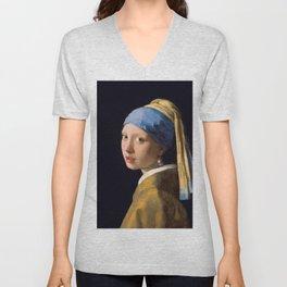 """Johannes Vermeer """"Girl with a Pearl Earring"""" Unisex V-Neck"""