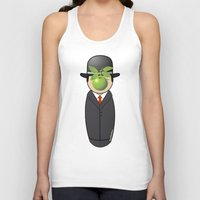 magritte Tank Tops featuring Kokeshi Magritte by Pendientera