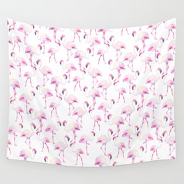 Tropical elegant watercolor pink flamingo bird Wall Tapestry