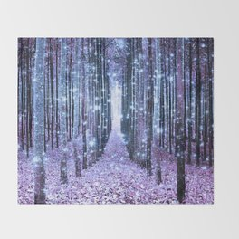 Magical Forest Lavender Ice Blue Periwinkle Throw Blanket