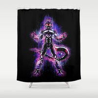vegeta Shower Curtains featuring The Ultimate Evil Lord by Barrett Biggers