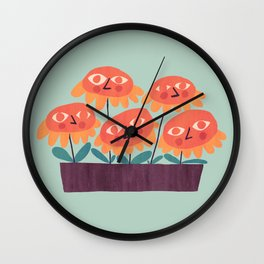 Flowers - the quirky little people Wall Clock