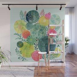 Succulent Circles Wall Mural