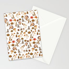 autumn pattern watercolor Stationery Cards