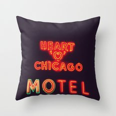 Heart 'O' Chicago Motel (Night) ~ vintage neon sign Throw Pillow