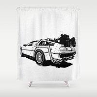 delorean Shower Curtains featuring DeLorean / BW by CranioDsgn
