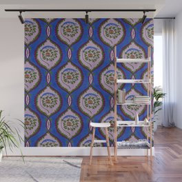 Classic Rose Pattern - intense blue Wall Mural