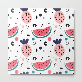 abstract pattern background with watermelon, pineapples and hand drawn shapes Metal Print