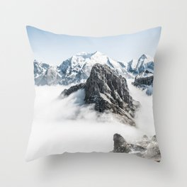 Mountain Tops Above Clouds And Snow Throw Pillow