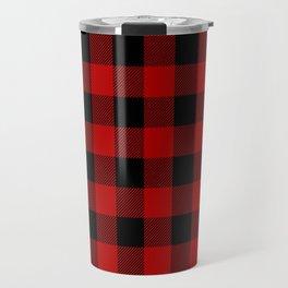 Red and black buffalo plaid pattern Travel Mug