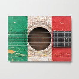 Old Vintage Acoustic Guitar with Italian Flag Metal Print