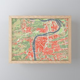 Prague map classic Framed Mini Art Print