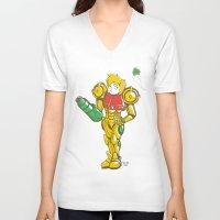 samus V-neck T-shirts featuring SAMUS ARAN by FoxBoy