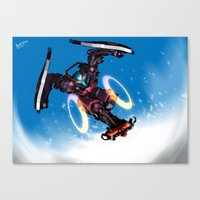 sci fi Canvas Prints featuring Sci-fi Snowboarding by Benedick Bana