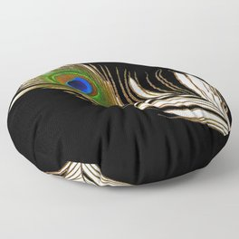 ART DECO PEACOCK FEATHER BLACK ART Floor Pillow