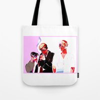 snk Tote Bags featuring SNK Broken Boys by rhymewithrachel