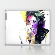 Milla fashion portrait girl watercolor tye and dye face Laptop & iPad Skin