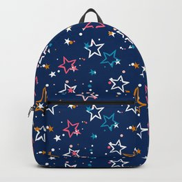 Night sky with colorful stars and dots on blue background Backpack
