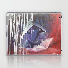 blue french bulldog in a paperboat Laptop & iPad Skin