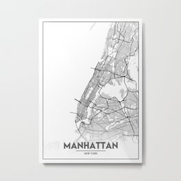 Minimal City Maps - Map Of Manhattan, New York, United States Metal Print