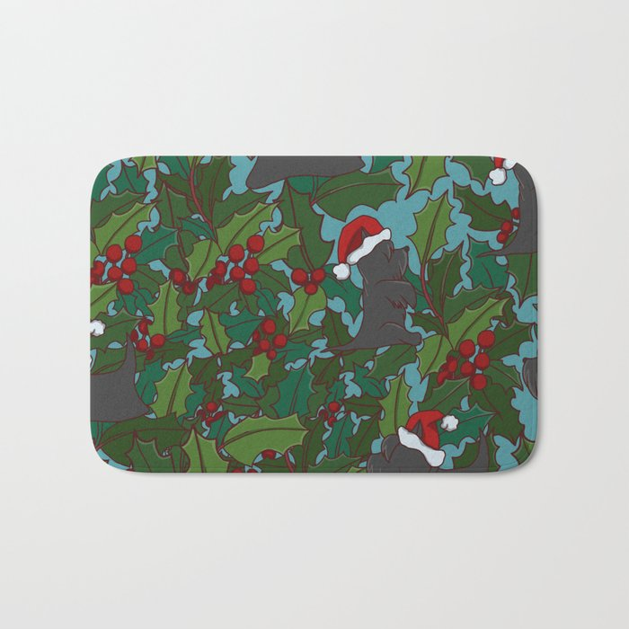 Christmas Dog Pattern Bath Mat