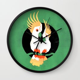 Birds – Two Cockatoos in Love in green, yellow, black and red Wall Clock