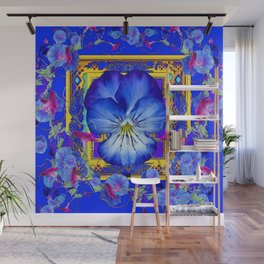 DECORATIVE BLUE PANSY & VINING  MORNING GLORIES Wall Mural