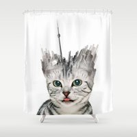 toronto Shower Curtains featuring Toronto Kittyscape by CAB Architects