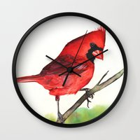cardinal Wall Clocks featuring Cardinal by LouiseDemasi