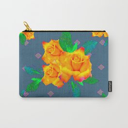 Teal Color Golden Roses Bouquet Patterns Carry-All Pouch