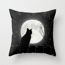 Silent Night Cat and full moon Throw Pillow