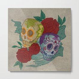 Sugar Skull Grunge Metal Print