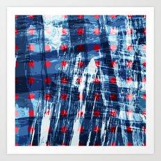 dots on blue ice Art Print