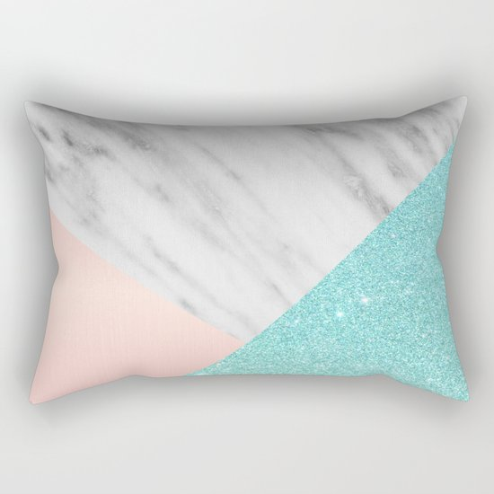 Real Italian Marble with Pink and Blue Rectangular Pillow