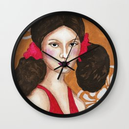 Isabel in Pink Mixed Media Wall Clock