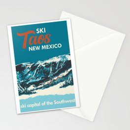 Ski Taos, New Mexico Poster Stationery Cards