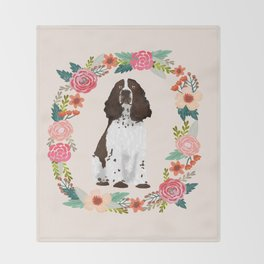 english springer spaniel dog floral wreath dog gifts pet portraits Throw Blanket