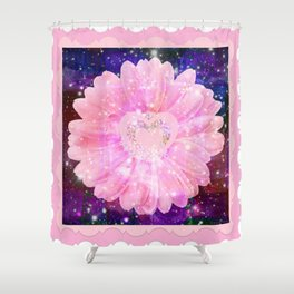 Pink flower with sparkles  Shower Curtain