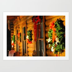 Log Cabin Christmas Art Print