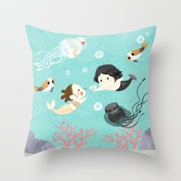 Reylo Mermaid Throw Pillow