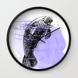 Purple Manatee Wall Clock