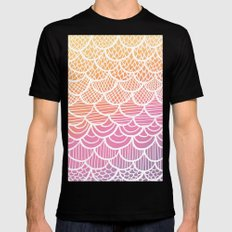 Modern hand drawn summer geometric mermaid scallop pink orange ombre watercolor Mens Fitted Tee MEDIUM Black