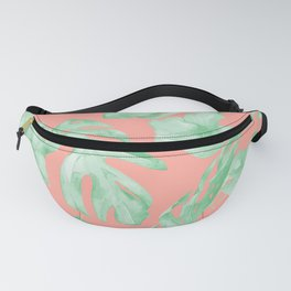 Tropical Palm Leaves Hibiscus Flowers Coral Green Fanny Pack