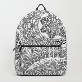 Black and White Feather Mandala Boho Hippie Backpack