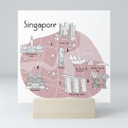 Mapping Singapore - Pink Mini Art Print