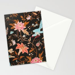 Floral woven textiles Stationery Cards
