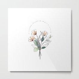 Coral Floral Line Drawing Metal Print