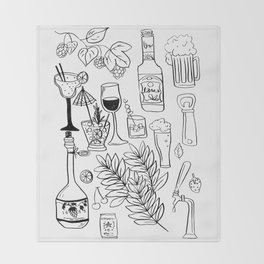 Alcohol Doodles Throw Blanket
